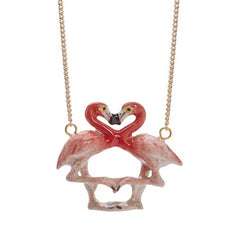 Silver Plated Necklace with Hand Painted Porcelain Kissing Flamingo Charm