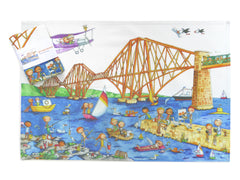 Forth Rail Bridge Gingerpaws Tea Towel