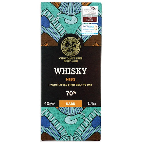 Bean To Bar 70% Dark Chocolate Whisky Nibs 40g
