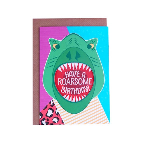 Shouting T-Rex Birthday Card