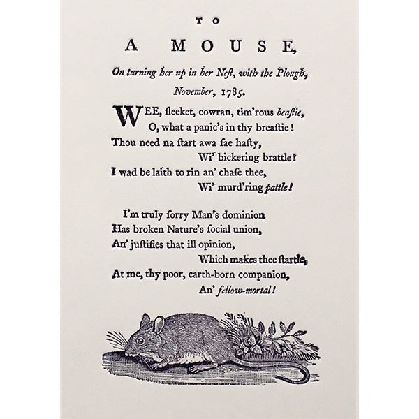 To A Mouse Robert Burns Poem Card