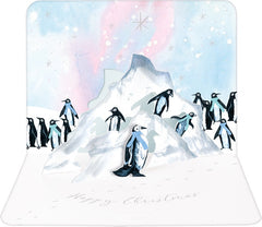 Penguins On Ice Flows Pop-Up Christmas Card
