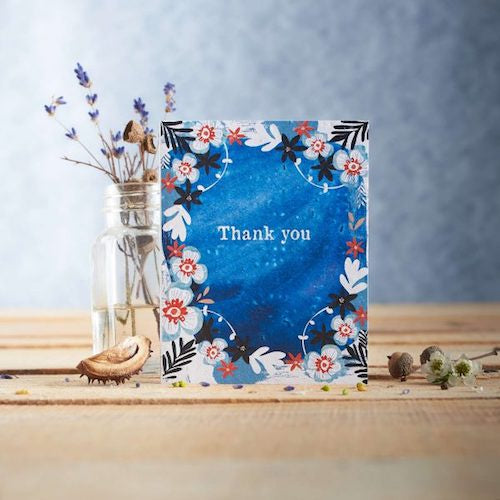 Thank You Blue Watercolour Seed Card