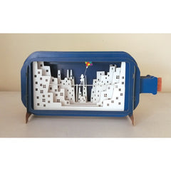 Sky City 3D Message In a Bottle Card