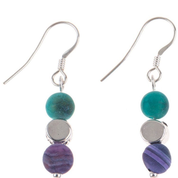 Carrie Elspeth Purple and Green Agate Earrings