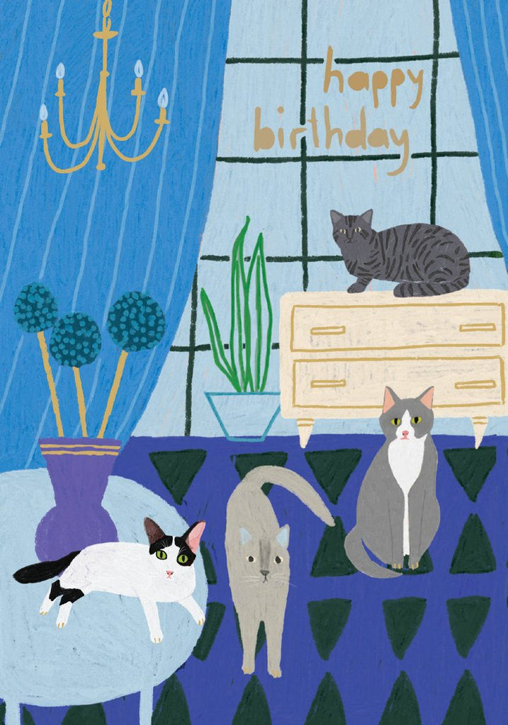 Four Cats Birthday Card