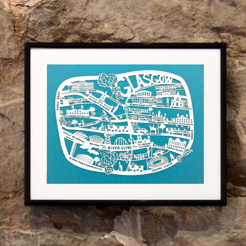 Lasercut A4 Glasgow Map - White on Blue