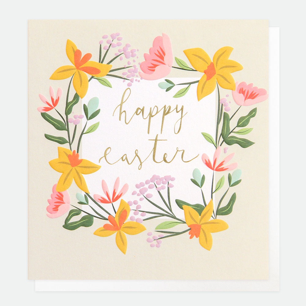 Happy Easter Foiled Wreath Card