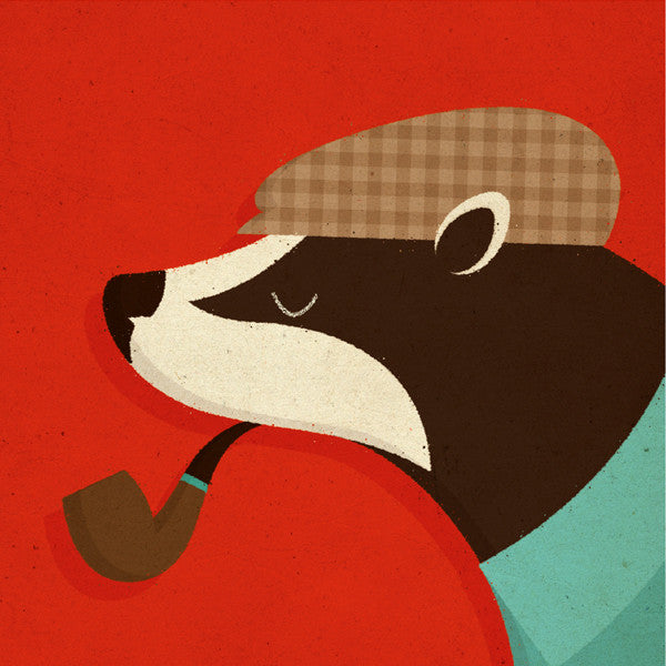 Badger With Pipe Card