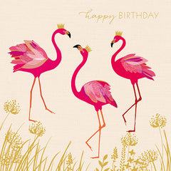 Happy Birthday Flamingos Card