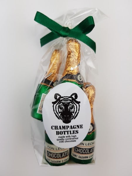 Paper Tiger Milk Chocolate Champagne Bottles in a Ribboned Bag
