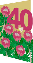 Protea Lasercut 40th Birthday Card