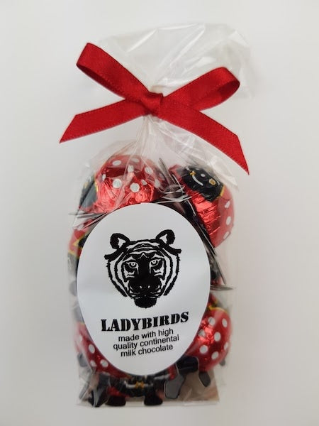 Paper Tiger Milk Chocolate Ladybirds in a Ribboned Bag