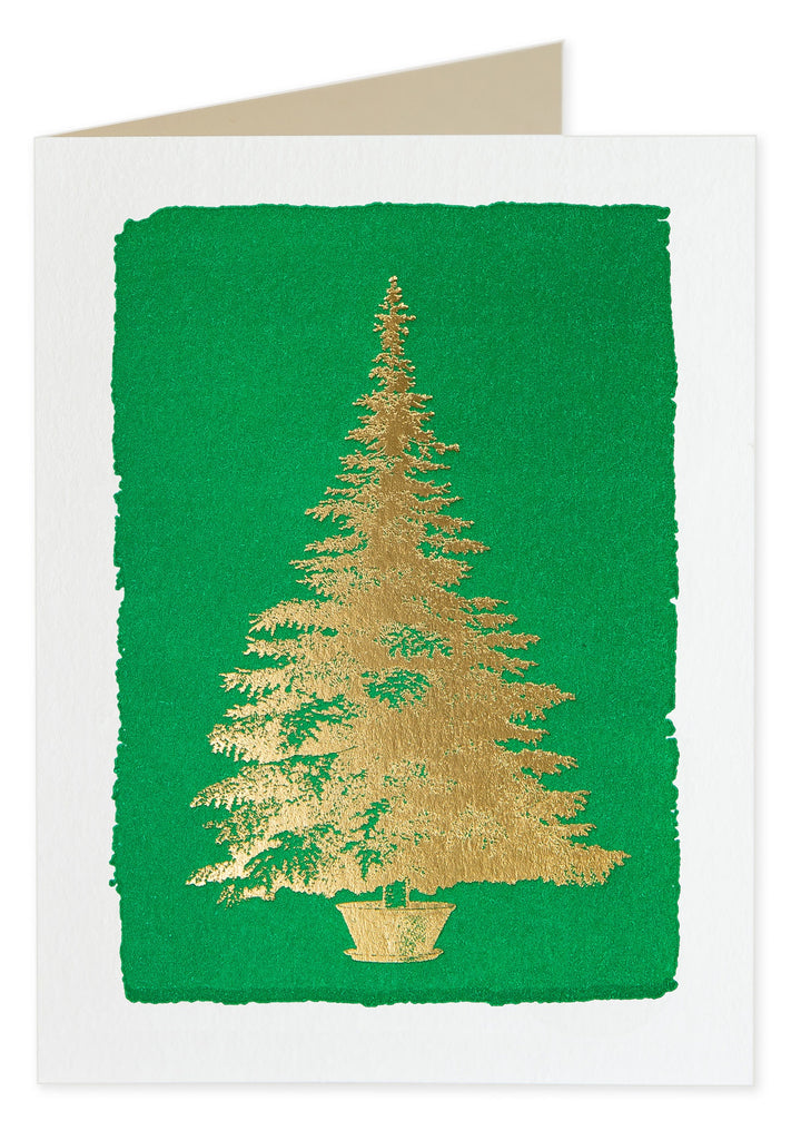Foiled Tree on Green Pack of 5 Christmas Cards