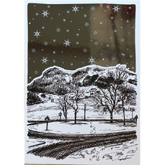 Arthur€'s Seat Snow Christmas Foiled Card
