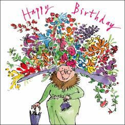 Flower Hat Happy Birthday Card