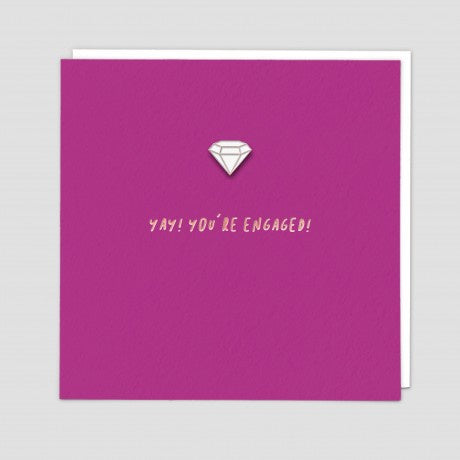 Yay! You're Engaged Diamond Pin Badge Card