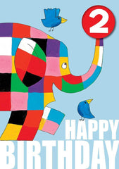 Elmer the Elephant Age 2 Birthday Card with Badge