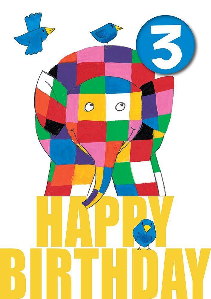 Elmer the Elephant Age 3 Birthday Card with Badge
