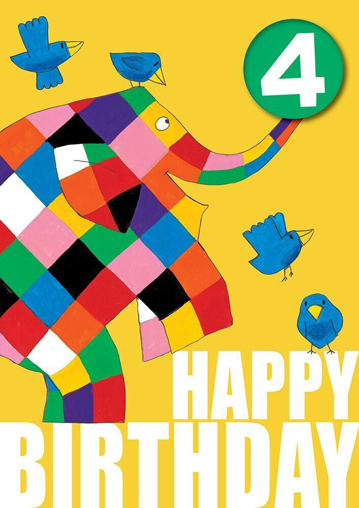 Elmer the Elephant Age 4 Badge Birthday Card