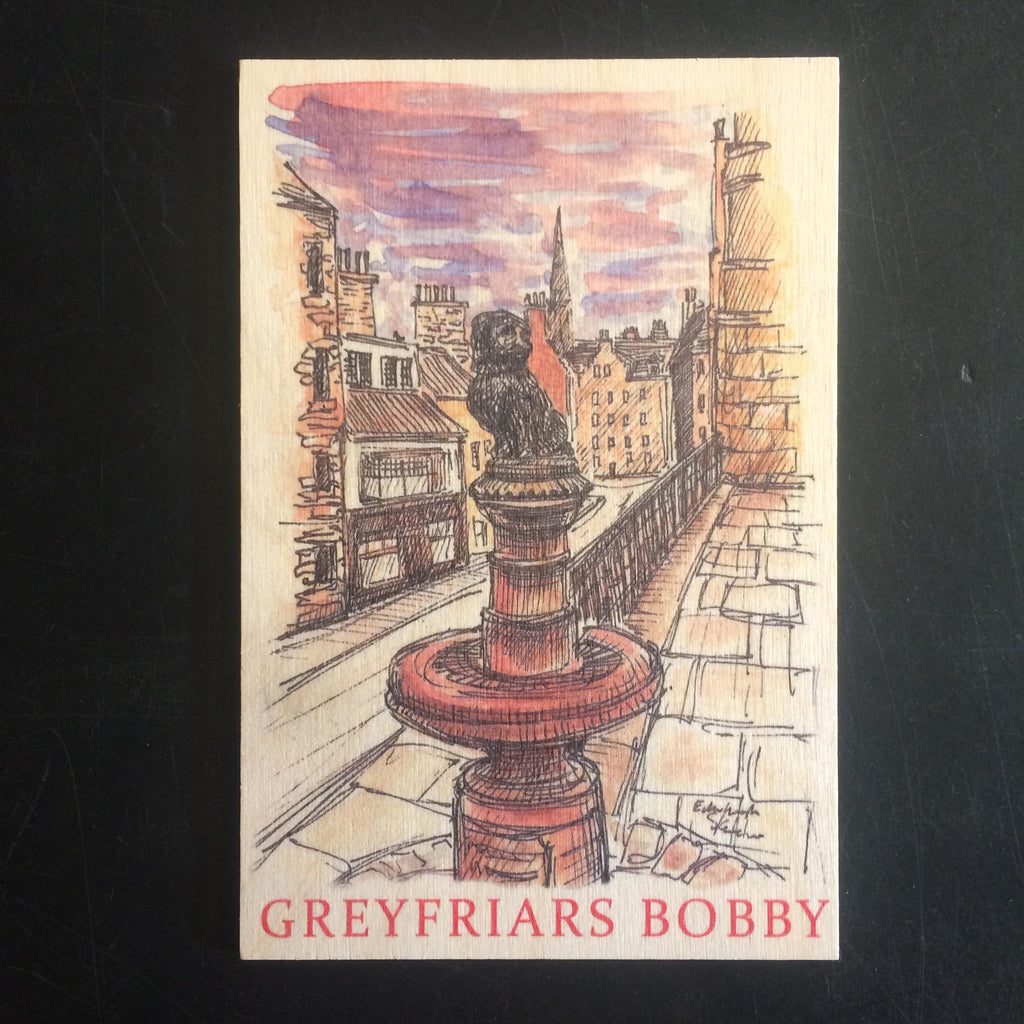 Greyfriars Bobby Wooden Postcard