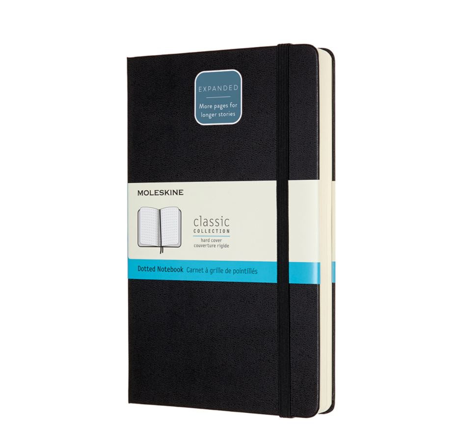Moleskine Large Hardback Dotted Expanded Notebook Black