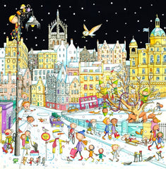 A View of the Old Town from Waverley Bridge Pack of Christmas Cards