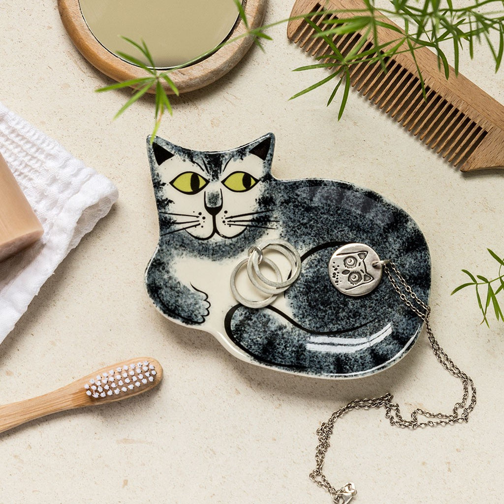 Grey Cat Trinket Dish by Hannah Turner