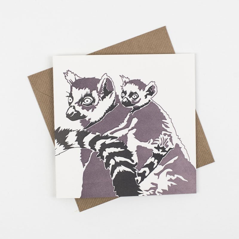 Lemur and Baby Letterpress Card