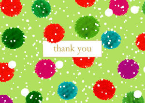 Snowy Pom Poms Pack of 8 Thank You Cards