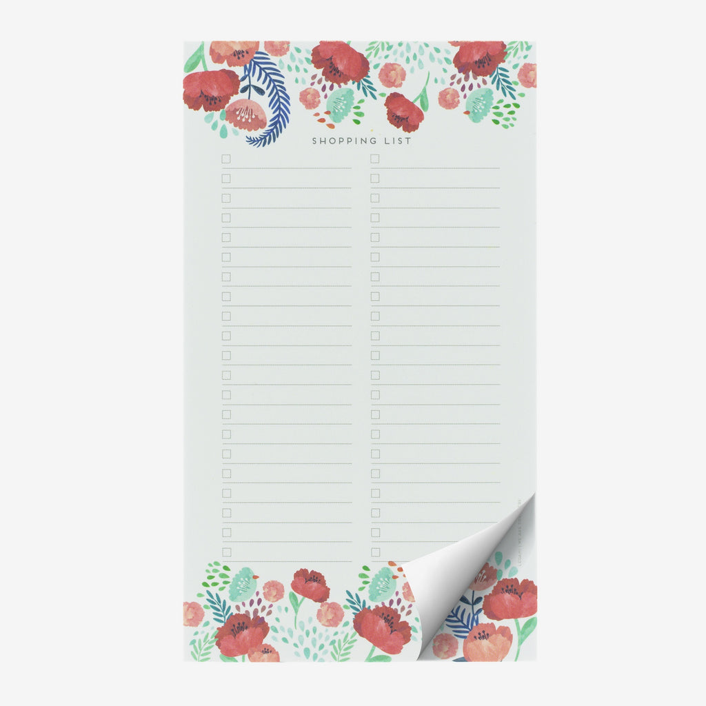 Flowers Shopping List Notepad