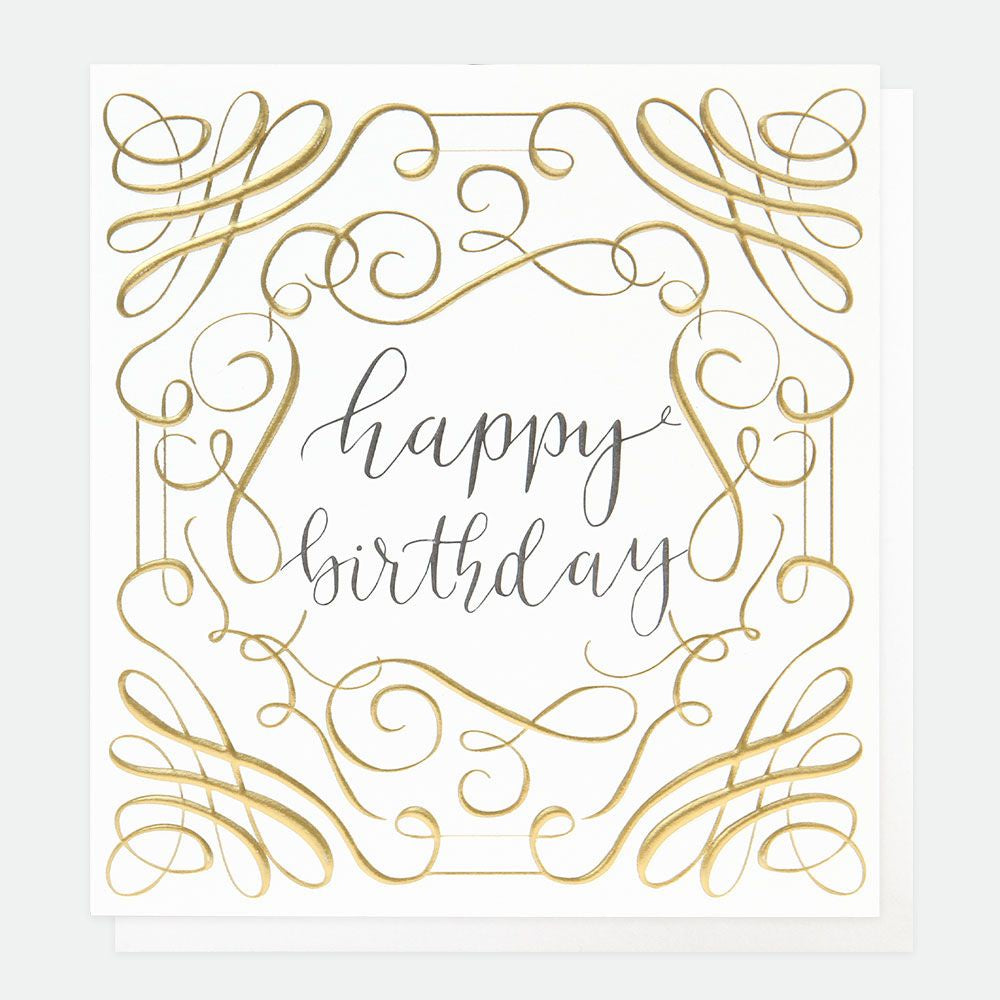 Happy Birthday Gold Calligraphy Card