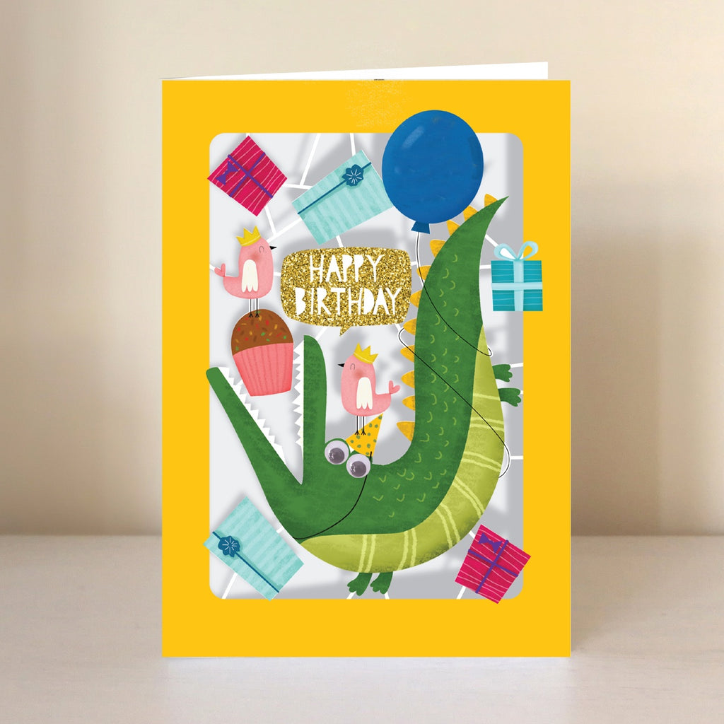 Happy Birthday Crocodile Lasercut Card