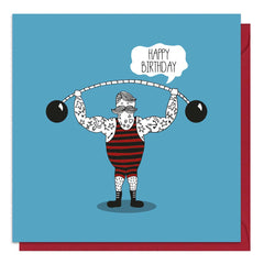 Strongman Blue Birthday Card