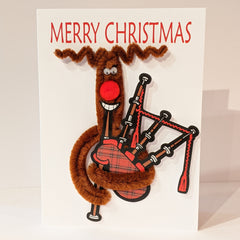 Reindeer With Bagpipes Christmas Card