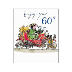 Enjoy your 60th Quentin Blake Birthday Card Man in Car