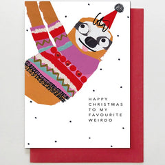 Favourite Weirdo Christmas Sloth Card