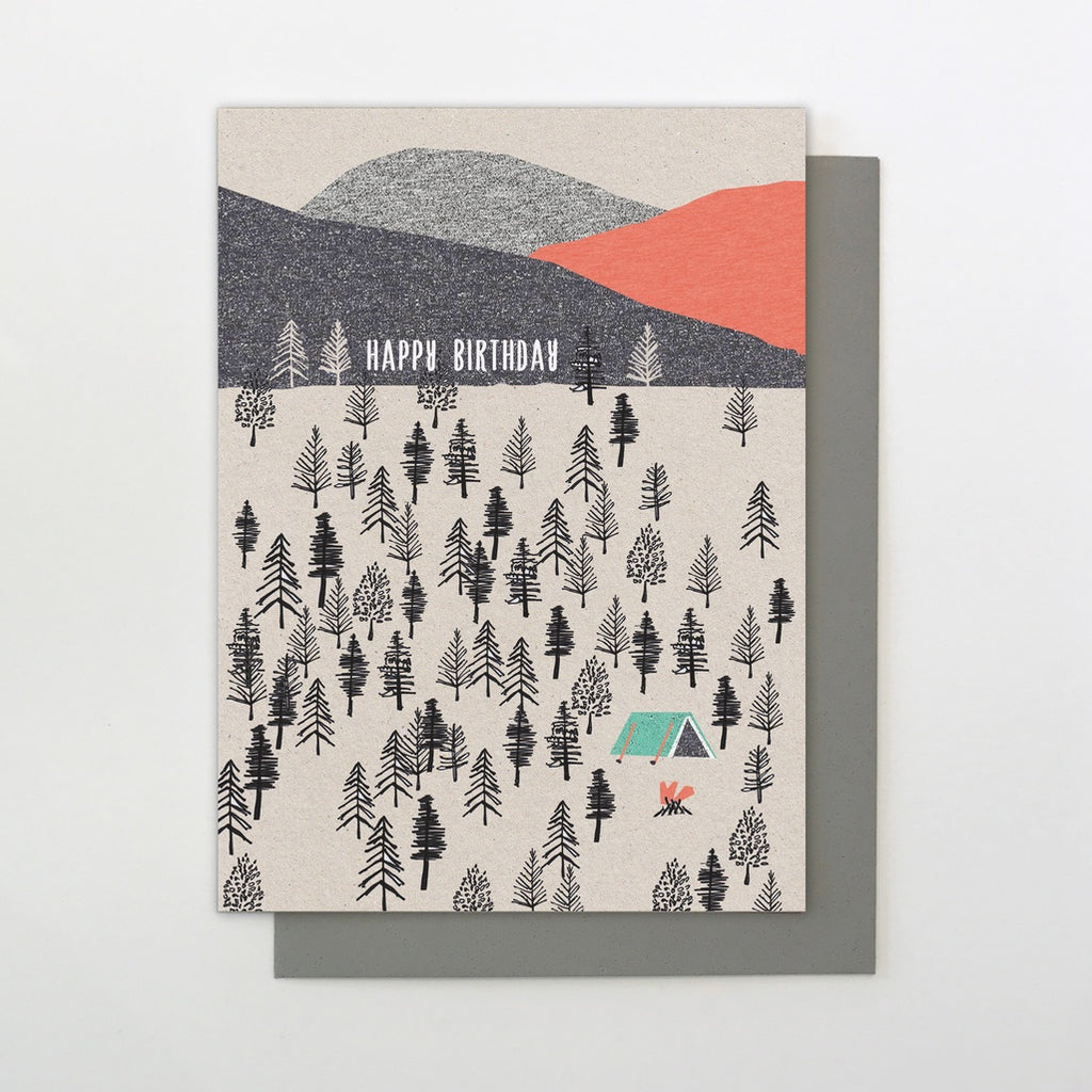 Tent in the Woods Birthday Card