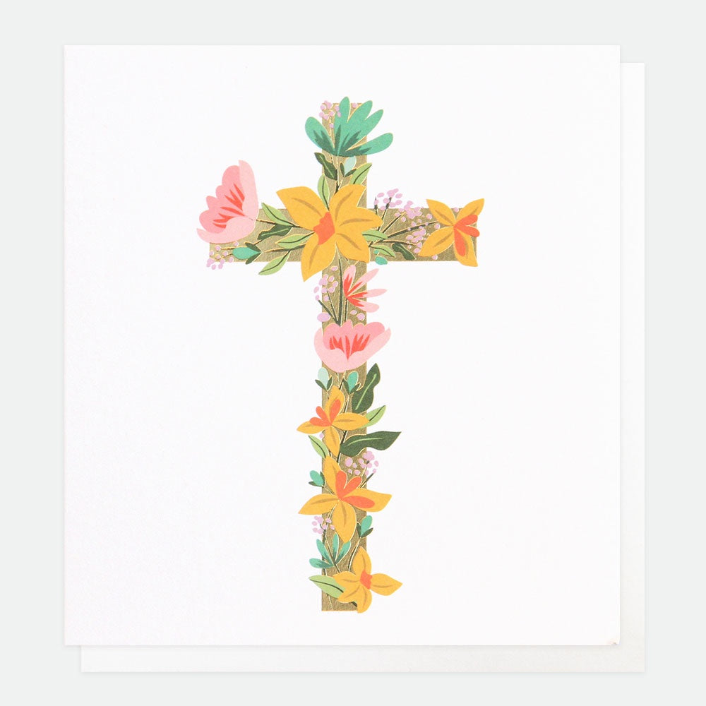 Floral Cross Foiled Easter Card