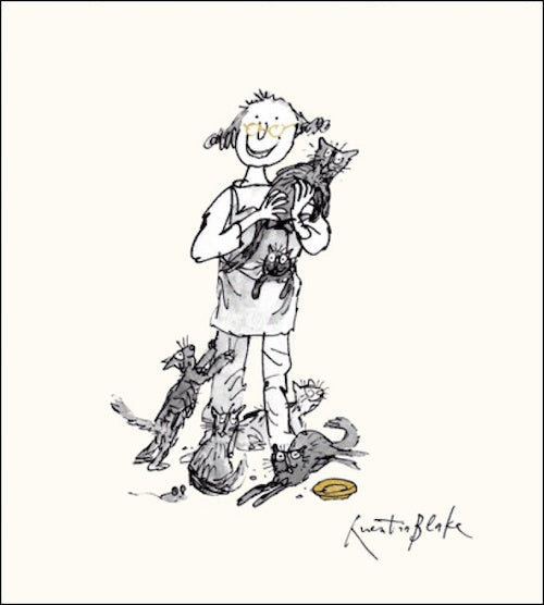 Crazy Cat Lady Quentin Blake Card