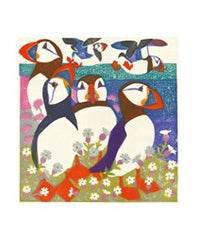 Puffins Woodblock Print Card