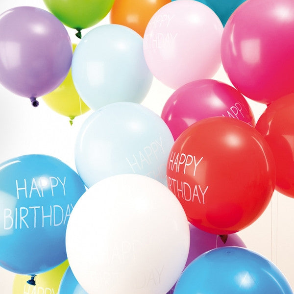 Happy Birthday Print Pack of 12 Balloons