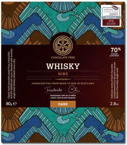 Bean to Bar Dark Chocolate Whisky Nibs 70%