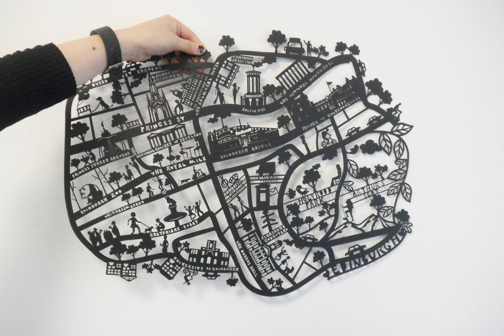 Lasercut A4 Edinburgh Map in Tube - Black