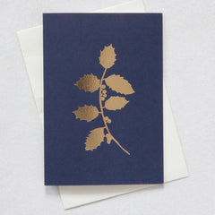 Holly Navy & Brass Christmas Card