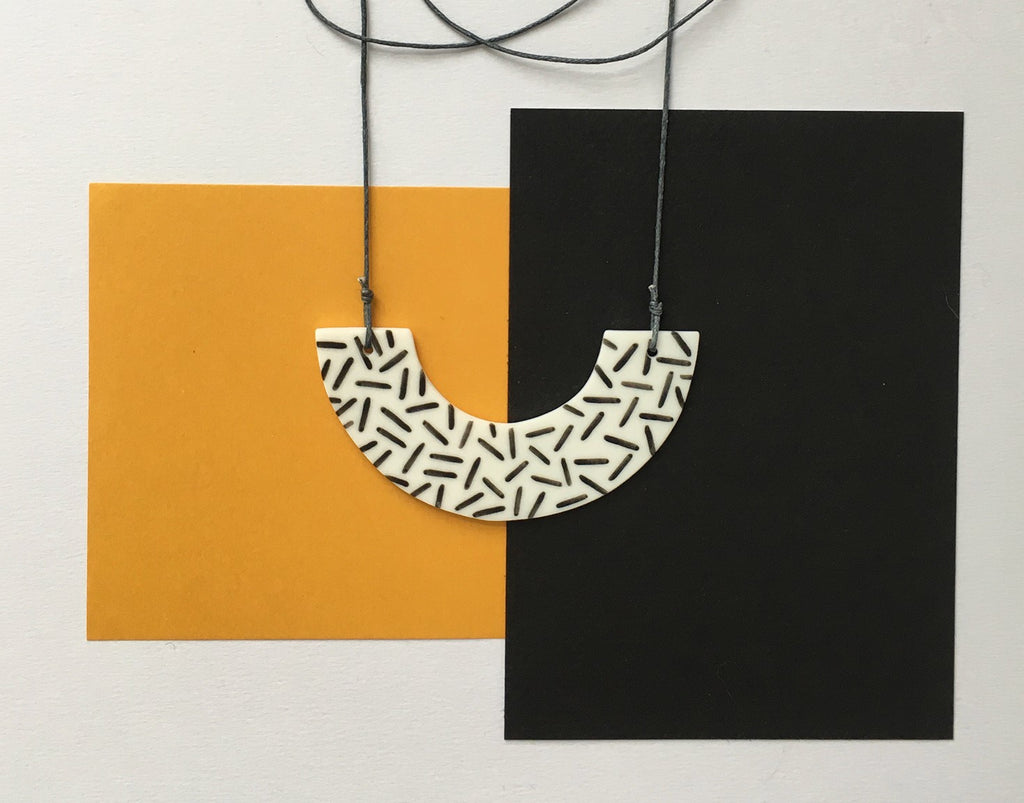 Arc Necklace Dash with Grey Cord