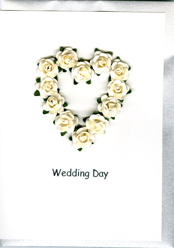 9 Roses in a Heart Wedding Card