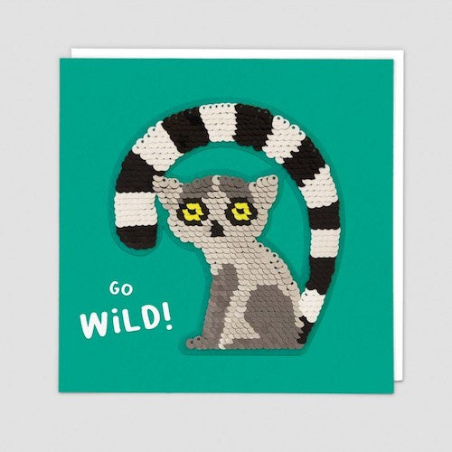 Go Wild Lemur Sequin Patch Card