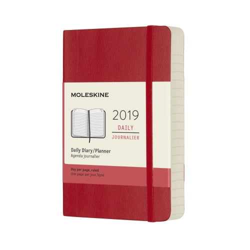 2019 Moleskine Pocket Daily Planner Softcover Scarlet Red