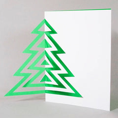 Green Cut Out Christmas Tree Card
